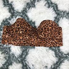 Sofia Vergara Swim Strapless Bikini Top Size Medium Cheetah Brown