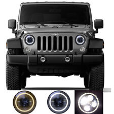 2x H4 7'' 80W LED Headlight Lens Halo Angel Eyes for Jeep Wrangler 97-16 JK TJ