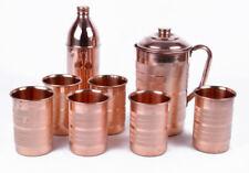 Copper Handmade Water 1 Jug Pitcher + 6 Tumbler + 1 Bottle Set Natural Ayurveda