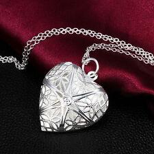 Silberkette Silberschmuck Silber S925 Stempel Halskette Geschenk Herz Fotorahmen