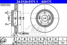 2x Bremsscheibe für Bremsanlage Vorderachse ATE 24.0124-0171.1