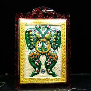 Magic Butterfly Painted Pim Yai, Kruba Krissana Thai Buddha Amulet#3