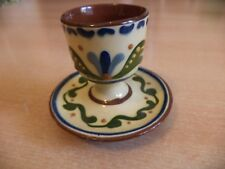 OLD VINTAGE LONGPARK TORQUAY ART MOTTO POTTERY WARE BOILED EGG CUP & SAUCER
