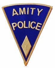 """JAWS Movie AMITY POLICE Shoulder Logo YELLOW PATCH 5"""" TALL 1st Quality Full Size"""