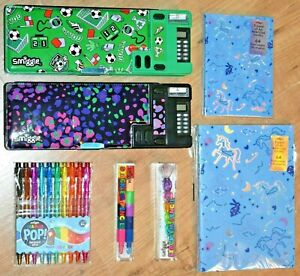Smiggle Pop Out pencil case with calculator Football leopard pencils notebooks
