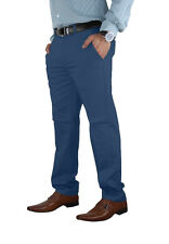 Mens Stretch Chino Trouser Cotton Slim Fit Jeans Khakis Casual Spandex Pants Blue 34 30