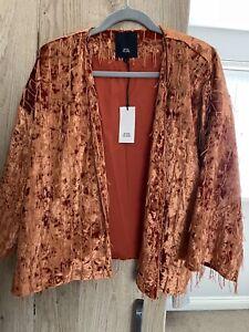 River Island Rust Velvet Tasseled Kimono Style Size Large NWT