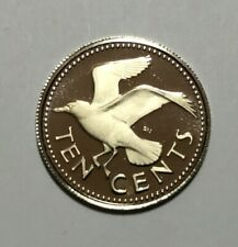 1973 Barbados 10 cents, Laughing Gull bird, animal wildlife, proof coin