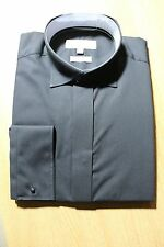 MENS BLACK SLIM FIT WING COLLAR SHIRTS