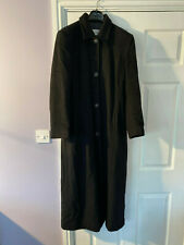 Ladies Jaeger Long Black Wool/Cashmere Single Breasted Coat Size UK 12