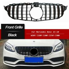 For Mercedes Benz C Class W205 C250 C350 C43 15-18 AMG GT R Black Front Grille
