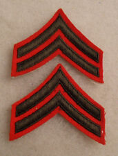 WWII FEMALE MARINE PAIR CORPORAL CHEVRONS ON RED FELT NO GLOW COTTON GAUZE BACK