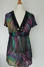 Debenhams Collection Sheer Pop Over Top Multi Coloured Sequin Neck Size 12 UK