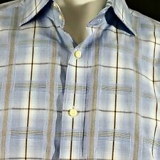 Thomas Dean Shirt Sz L Blue Plaid Contrasting Flip Collar Cuff Mens Button Up