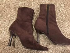 Ladies Short Ankle Boots Brown Suede Effect Size 6 JDV make