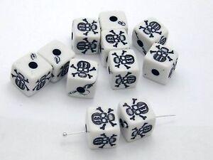 20pcs Skull + CrossBones Cube Acrylic Beads 13mm Halloween Gothic Craft