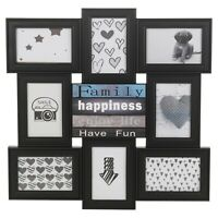 Black 8 Slot Modern Decorative Photo Multi Frame Family Wedding Memory Collage
