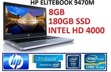 HP ELITEBOOK FOLIO 9470M CORE i5 3RD GEN 3437U 1.90GHZ I 8GB RAM I 180GB SSD I