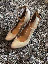 WORN ONCE - NEXT GOLD GLITTER COURT SHOES WITH ANKLE STRAP - 7 41