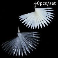 40pcs Natural/Clear False Nail Art Polish Gel Art Tip Display Fan Swatch Holder