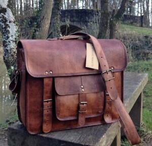 Vintage Leather Messenger Cross Body Laptop Briefcase Satchel Bag Handmade Brown
