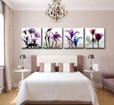 New Wall 4 Panels Framed Canvas Picture Photo Print Multi Flowers Art Home Decor