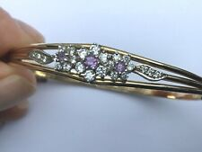 PREOWNED ROLLED GOLD AMETHYST & CUBIC ZIRCONIA BANGLE, NICE ONE ...........