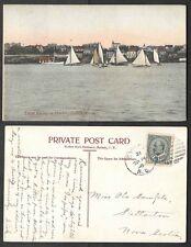 1906 Canada Postcard - Nova Scotia -  Yacht Racing in Sydney Harbor