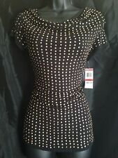 NWT! INC INTERNATIONAL CONCEPTS Black & Gold Sequined Top Blouse Sz XS Org$69.50