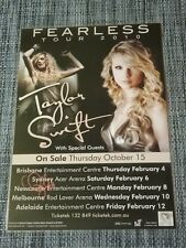 TAYLOR SWIFT - 2010 FEARLESS TOUR - Australia Tour SIGNED AUTOGRAPHED  Poster