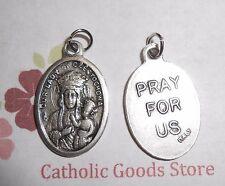 Our Lady of Czestochowa - Pray for Us  -  Italian Silver Tone OX 1 inch Medal