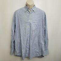Peter Millar Mens Button Up Shirt XL Blue Brown Plaid Button Down