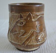 Art Pottery Mug Cup Etched Fox Brown & Cream Drip Glaze - Fish on Base - Vintage