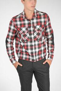 NEIL BARRETT men Shirts Cotton Loose Blouson Fit Tartan White Red M (Standard...