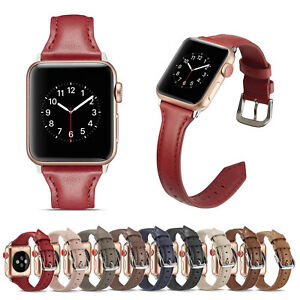 44/40/42/38 Slim Genuine Leather Wrist Strap for Apple Watch Series 6 5 4 3 Band