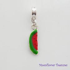 Silver Plate & Enamel Slice of Watermelon Charm fit European Charm Bracelet