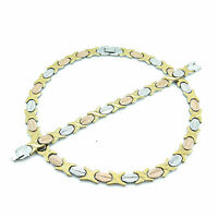 3 Tone Hugs & Kisses Wide Necklace Stampato Stainless Steel 20'' Bracelet Set