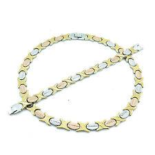 3 Tone Hugs & Kisses Wide Necklace Bracelet Set Stampato Stainless Steel 20''