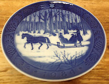 Royal Copenhagen 1984 Christmas Plate Danish Jingle Bells Horse Sleigh Winter