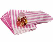 "100 SMALL PINK & WHITE STRIPE PAPER BAGS SIZE 5 X 7"" CANDY SWEET GIFT Pick n Mix"