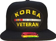 Korean War Veteran Hat Black Ball Cap with Korea Service Ribbon SNAPBACK