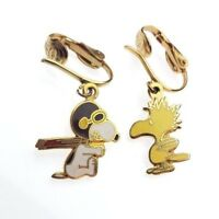 Vintage Peanuts SNOOPY & WOODSTOCK Aviva United Features Enamel Earrings