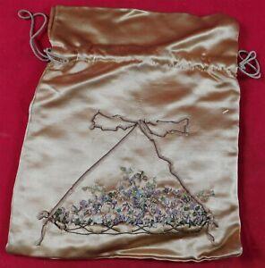 Vintage Gold Silk Rosette Ribbon Work Violet Flower Drawstring Bag Pouch Purse