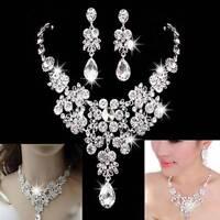 Fashion Bling Crystal Rhinestone Necklace Earring Sets Bridal Wedding Jewelry