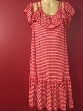 MAX STUDIO Fiesta Orange/Ivory Off-Shoulder Cap Sleeve Dress - Small - NWT $98