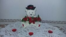 "Valentine's Day Resin Bear With Black Satin Hat Holding Garland of Roses4.5""Tall"