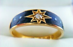 Extremely Rare 18ct Gold Enamel & Old Cut Diamond Victorian Mourning Ring 1890
