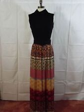 Knock Out CLASSY Jet Black Belted Colorful GEOMETRIC ETHNIC Skirt MAXI DRESS 12