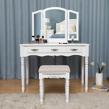 Large Dressing Table with Tri-fold Mirror and Cushioned Stool White RDT18W
