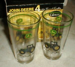 Set-4 NEW John Deere Tractor Gibson 16 oz Conical Tumblers Drinking Glasses Cups